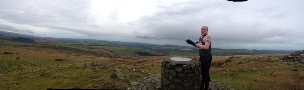4.A brave, but chilly, Rhydian enjoying the view from Foel Eryr.